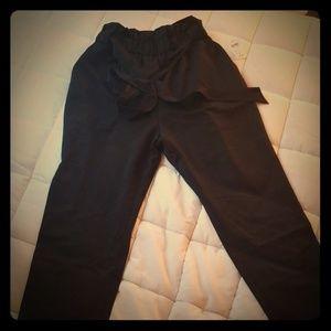 M/L Black Waist Tie Paperbag Pants